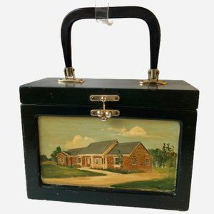 Vintage Wooden Box Purse Hand Painted